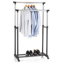 IDIMEX - Portant penderie vestiaire sur roulettes hauteur réglable chromé et noir