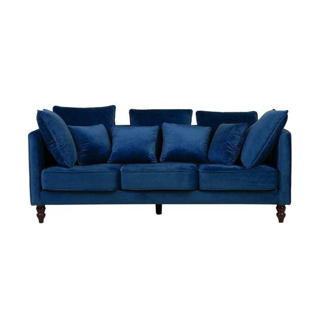 BELIANI Canapé en tissu bleu paon FENSTAD
