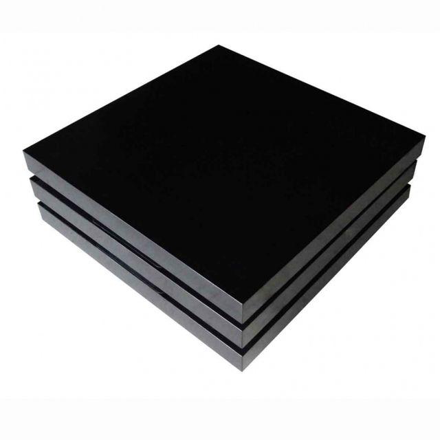 Casasmart Table basse noir pivotante à 3 plateaux