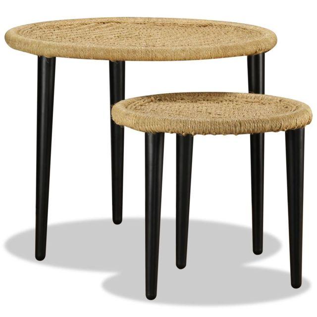 Vidaxl 2x Table Basse Détails Tissés Chindi Multicolore Table de Thé Salon