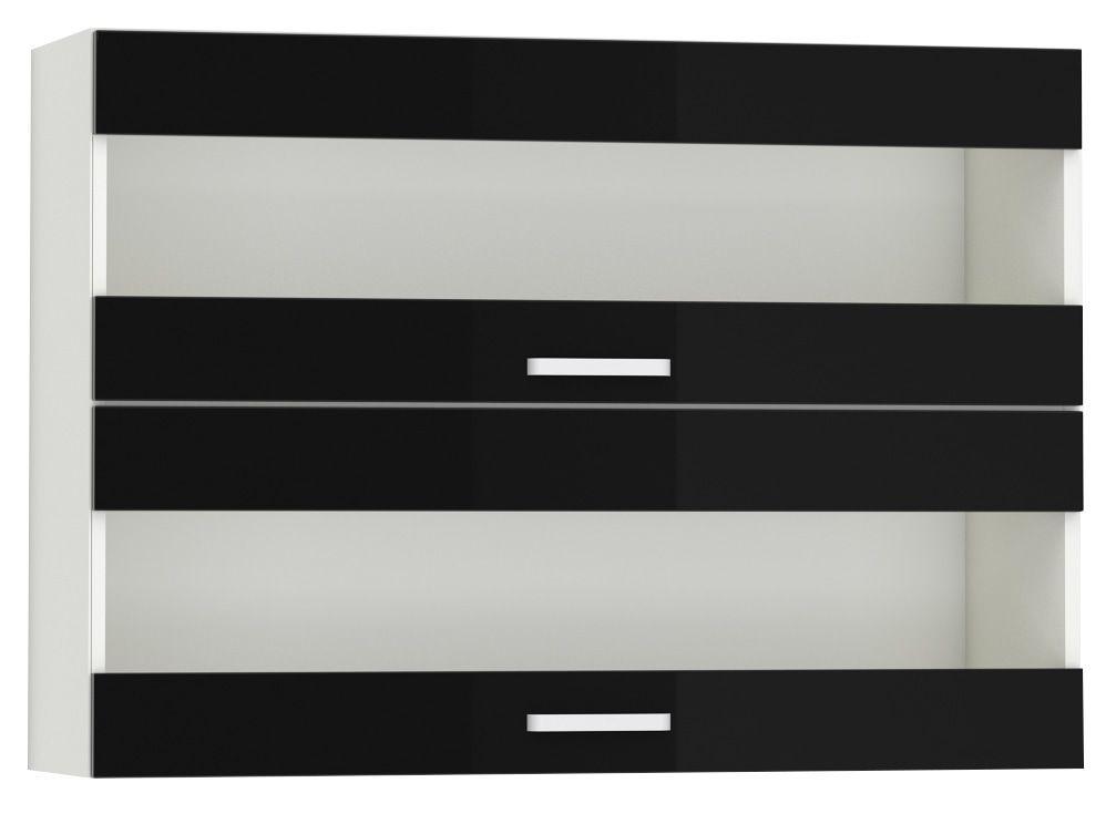 Meuble haut de cuisine design 100 cm avec 2 portes vitrées horizontales coloris blanc mat et noir laqué