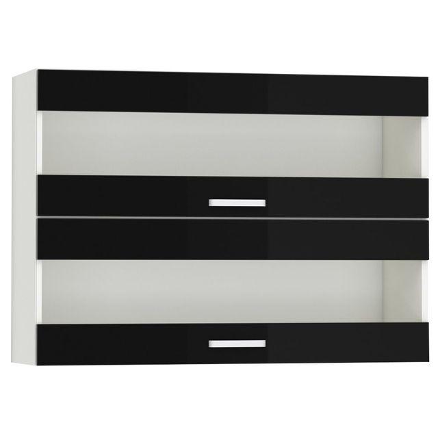Comforium Meuble haut de cuisine design 100 cm avec 2 portes vitrées horizontales coloris blanc mat et noir laqué