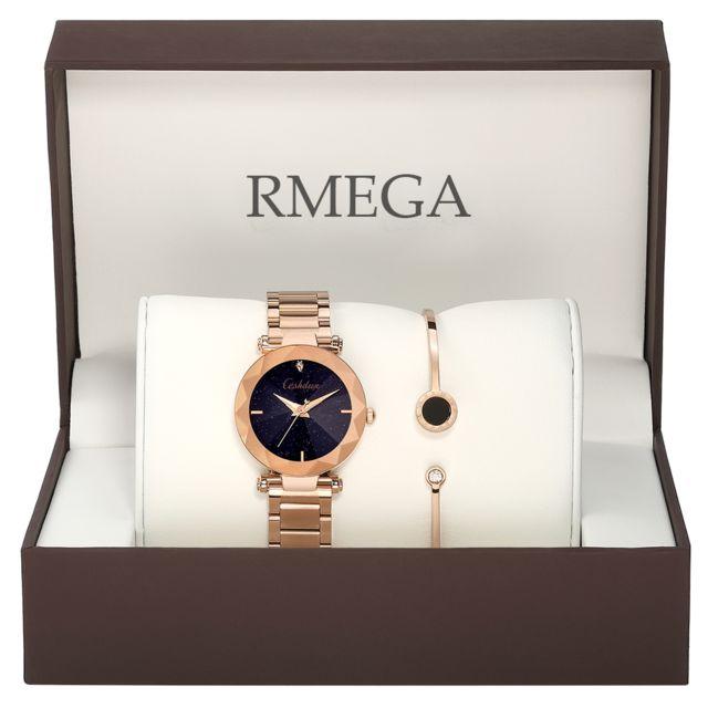 Rmega Coffrets Cadeaux Montre Femme + Bracelet Femme Marque de Luxe Montre Bracelet Femme Quartz Acier Doré