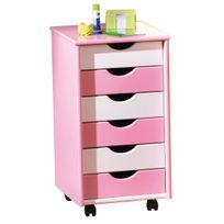 Comforium - Caisson de bureau enfant à 6 tiroirs rose et blanc