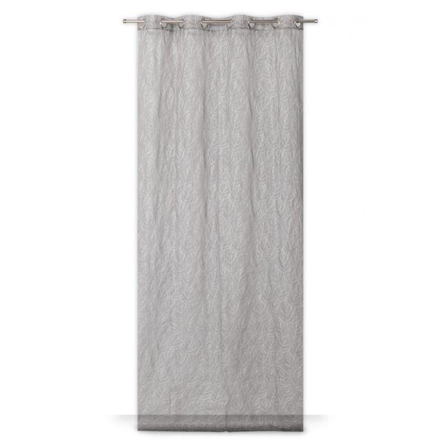 rideaudiscount voilage grande hauteur 140 x 280 cm oeillets style scandinave motif brod. Black Bedroom Furniture Sets. Home Design Ideas