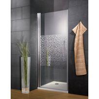 SCHULTE - Porte de douche pivotante, 90 x 190 cm, paroi de douche pivotante, verre anticalcaire, décor galets chromés, profilé aspect chromé, Style