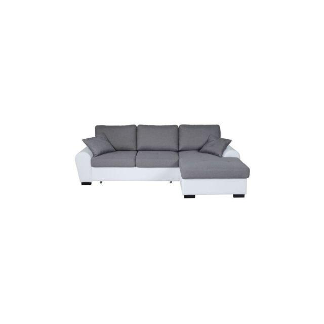 Sans Marque Jena Canape Dangle Droit Convertible 3-4 Places + Coffre De Rangement - Tissu Gris Clair Et Simili Blanc - L 248 X P 173