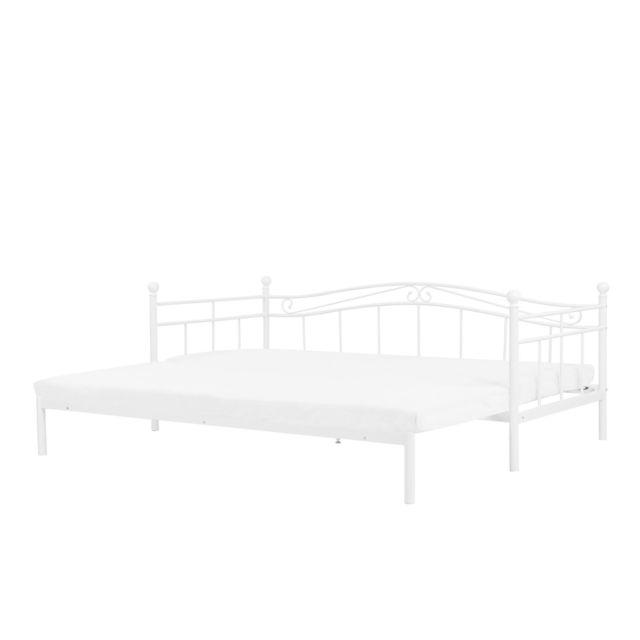 BELIANI Lit extensible blanc 90/180 x 200 cm TULLE - gris foncé