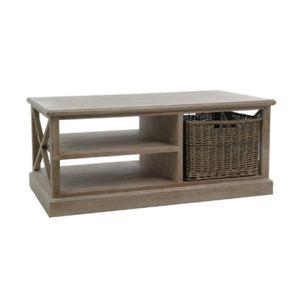 table basse avec paniers osier coloris ch ne patin leandre pas cher achat vente tables. Black Bedroom Furniture Sets. Home Design Ideas