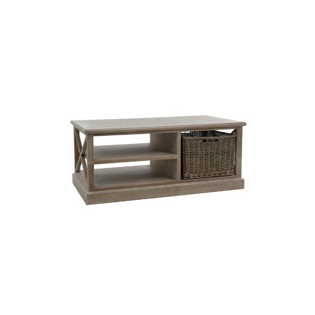 Table basse avec paniers osier coloris chêne patiné - Leandre