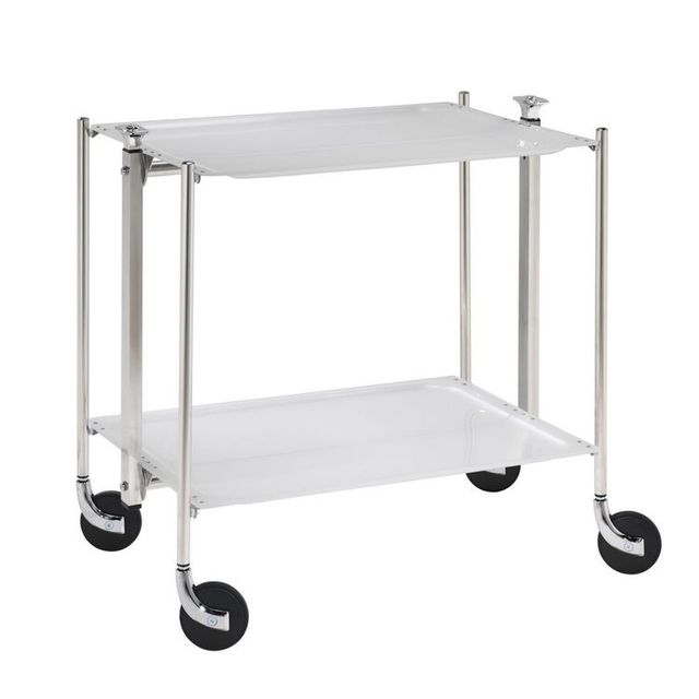 Platex Table roulante pliable - 2 plateaux acrylique - Argent - Chromée