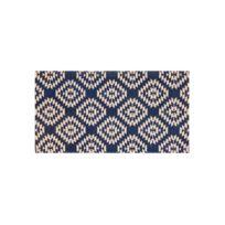 House Bay - Tapis 100% coton imprimé motif losange navajo ethnique Maha - Bleu Navy - 60x110cm