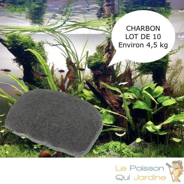 Aqua Occaz Lot de 10 Charbons Actifs 450 gr Avec filet pour purifier l'eau de votre aquarium et bassin