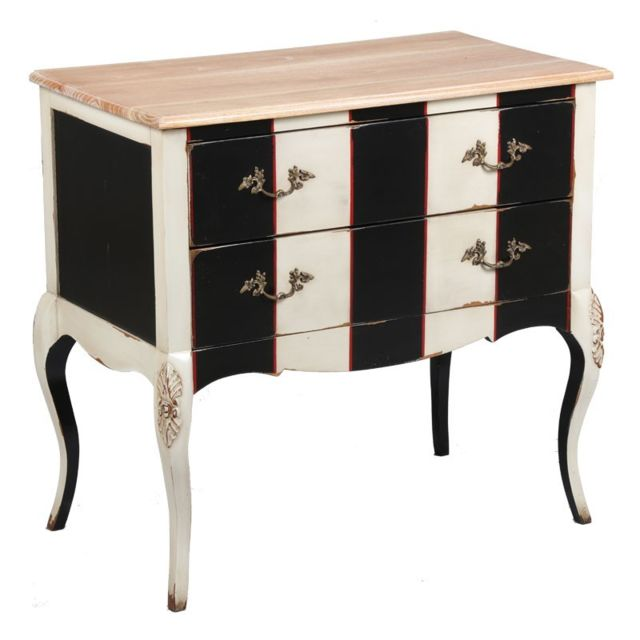 tousmesmeubles commode 2 tiroirs cornelia noir et. Black Bedroom Furniture Sets. Home Design Ideas