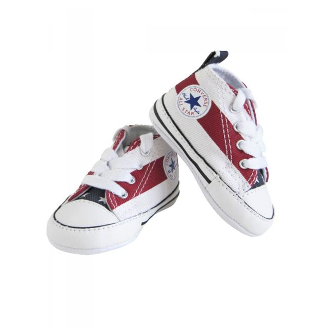 34a38342f9536 Converse - Baskets all star bébé fille toile blanc rouge américaine converse