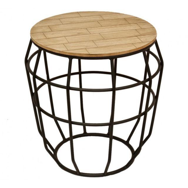 L'HÉRITIER Du Temps Bout de Canapé Façon Corbeille en Fer Noir et Bois Guéridon Desserte Table de Chevet 41x41x41cm
