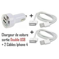 Cabling - Pack Chargeur allume-cigare double Usb avec deux câbles charge/synchronisation iPhone 4/4S Noir