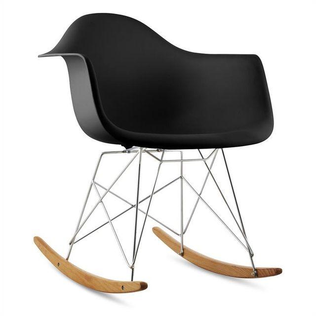 ONECONCEPT Aurel Chaise à bascule design rétro bois de bouleau - noir