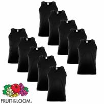 Fruit Of The Loom - 10 débardeurs Value Weight Coton Noir Taille L