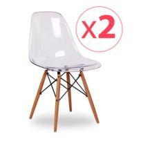 Novara Mobili - Pack 2 chaises Wood Style Clear plastique avec pieds en bois de hêtre