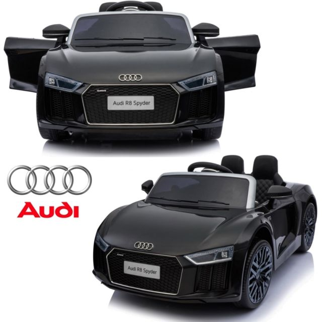 audi petite voiture v hicule lectrique 1er ge enfant b b 12 volts r8 noir pack luxe pas. Black Bedroom Furniture Sets. Home Design Ideas