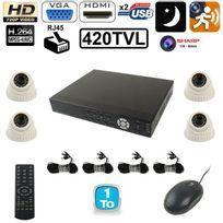 Yonis - Kit de surveillance 4 caméra Sharp 420 Tvl 1/4 enregistreur Ip Hdd 1To