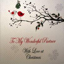 White Cotton Cards - To My Wonderful Partenaire Avec Love Carte De NoËL Faite À La Main