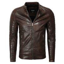 Marque Generique - Blouson en cuir pour homme Blouson fashion 1026 marron