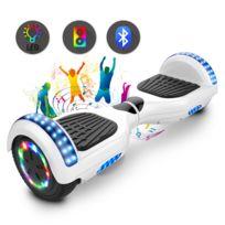 COOL AND FUN - Cool&Fun Hoverboard 6.5 Pouces Certifié, avec Bluetooth et Pneu à LED de couleur, Gyropode Scooter électrique Overboard, Blanc