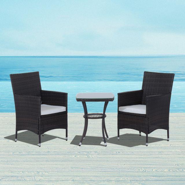OUTSUNNY - Ensemble salon de jardin 2 places : 2 fauteuils et table ...