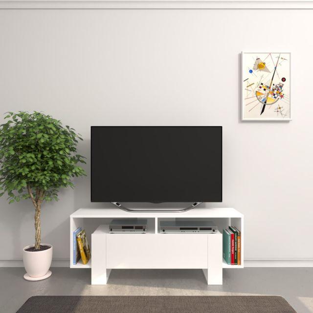 Homemania Meuble Tv design Melville - L. 120 x H. 47 cm - Blanc