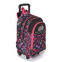Lilou Secret - Sac à dos à roulettes Flash 2 compartiments noir et rose