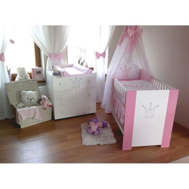 Klups Lit bébé+ Set de lit+ Commode couronne rose