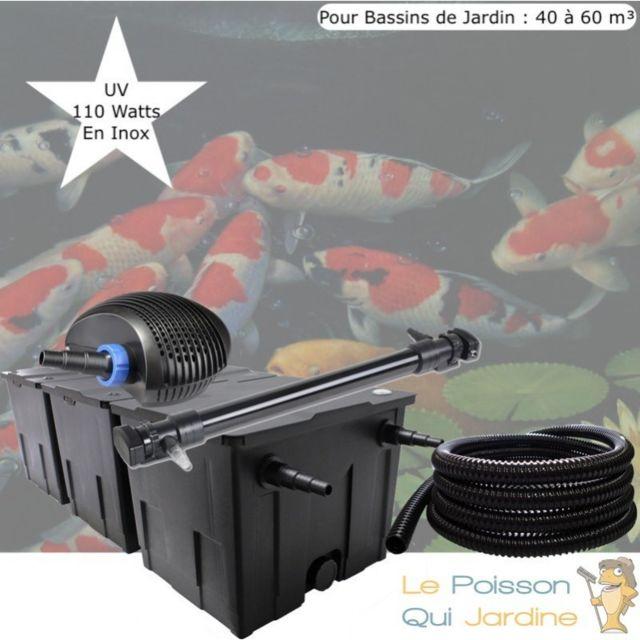 Le Poisson Qui Jardine Kit De Filtration, Uv 110 W , Pour Bassin de Jardin : 40 à 60 m Option : Pack Bactéries & Activateur Biologique - Sans P