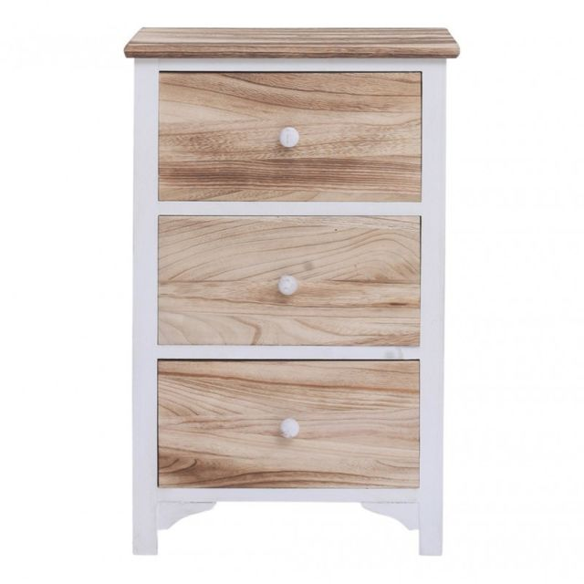 Mobili Rebecca Commode Table De Chevet 4 Tiroirs Bois Blanc Marron
