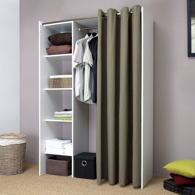 symbiosis dressing extensible profondeur 50cm avec rideau coton blanc taupe de 123 160. Black Bedroom Furniture Sets. Home Design Ideas