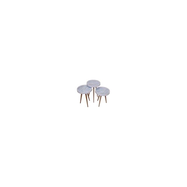 Alphamoebel Set de 3 tables gigognes Marmor2 rondes en bois Mdf blanc