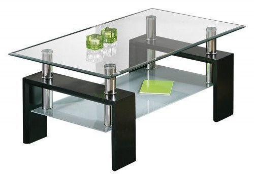 Comforium Table Basse Design Verre Et Noir Laque Diamant Pas