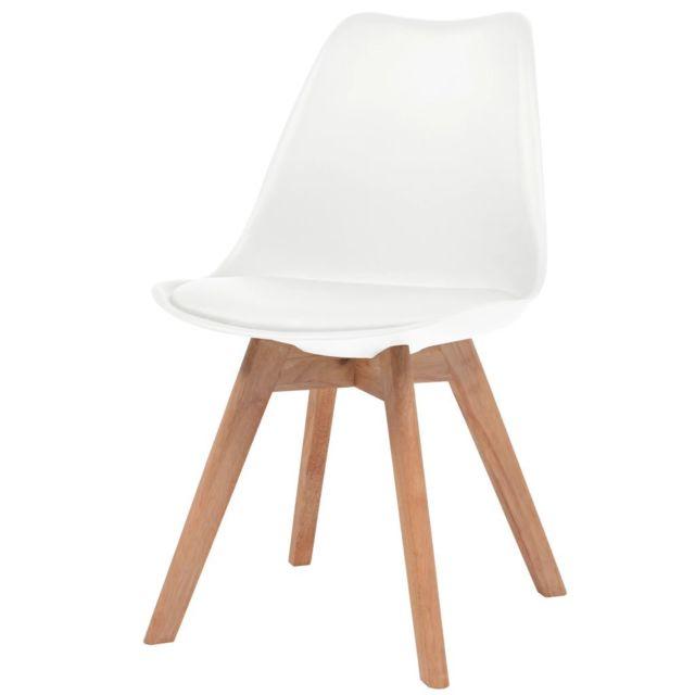 Icaverne Chaises de cuisine et de salle à manger serie Chaise de salle à manger 2 pcs Similicuir Bois massif Blanc
