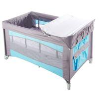 TEX BABY - Lit parapluie bébé TEX - Turquoise et Gris