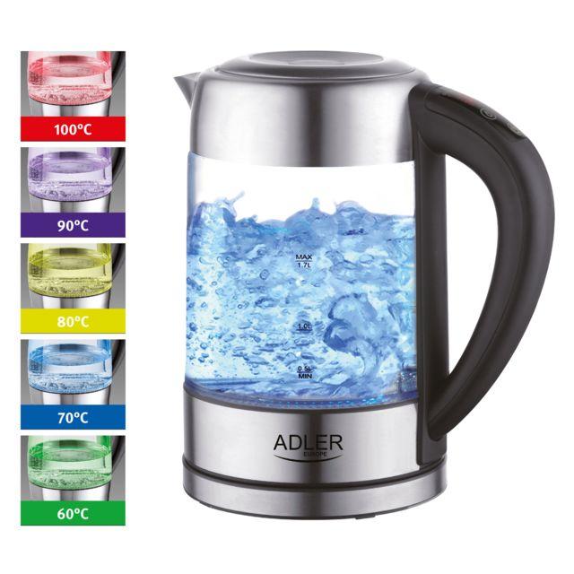 Adler Bouilloire électrique en verre 1,7 litres contrôle de la température de 60 à 100 2200W Ad1247