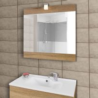 Creazur - Miroir avec applique lumineuse Mirosa - 80 cm bois cambrian