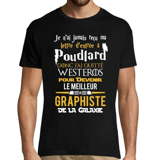CLOSSET Graphiste | Le Top de la Galaxie | T-shirt Homme col Rond Geek Fans Poudlard - Trône de Fer - Guerre des Étoiles | Collection Métiers Travail L