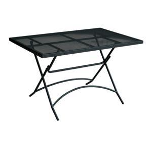 alin a mescha table de jardin pliante noire en acier 4 6 places pas cher achat vente. Black Bedroom Furniture Sets. Home Design Ideas