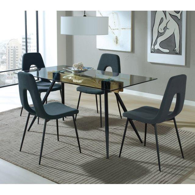 Tousmesmeubles Table de repas - Geppeto - L 160 x l 90 x H 75