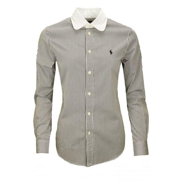 Ralph Lauren - Chemise Harper rayée noir blanc pour femme - pas cher ... f31ac059a88