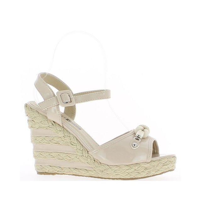 4883c832f Chaussmoi - Sandales compensées femme beiges vernies talon de 11cm ...