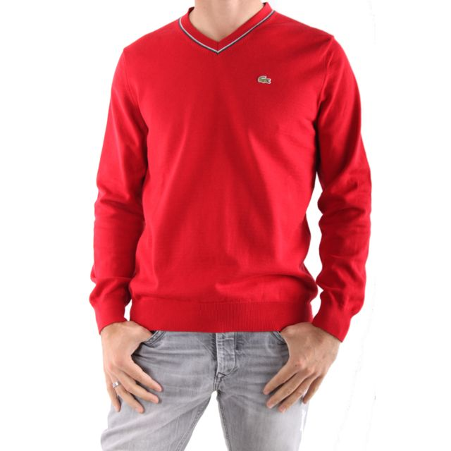 c08a7c8df4 Lacoste - Pull Col V Rouge - pas cher Achat / Vente Pull homme -  RueDuCommerce