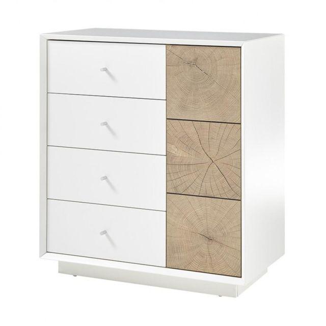 Inside 75 Commode Markus laqué blanc mat et décor chêne 1 portes 3 tiroirs
