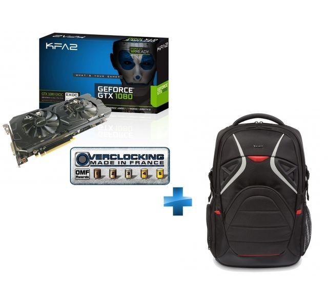 KFA2 - GeForce GTX 1080 EXOC 8GB GDDR5X 256-bit + Strike Sac à dos gaming pour PC gamer 17,3'' - Noir